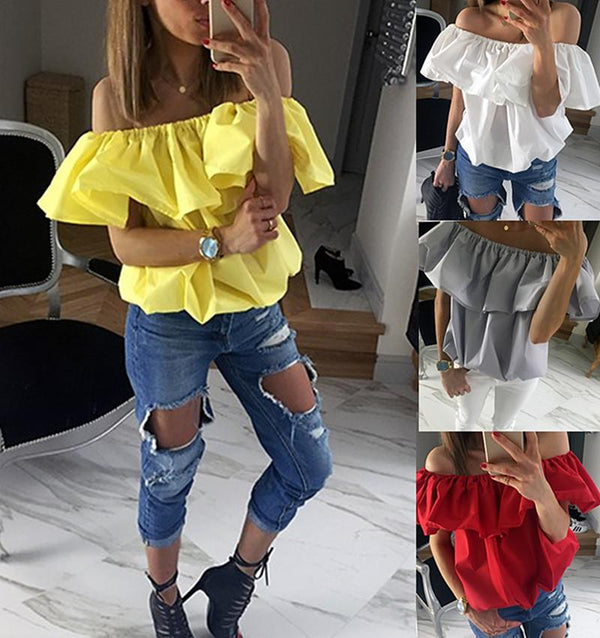 Falbala Strapless Casual Sexy Elastic Top Blouse - Shoes-Party - 1