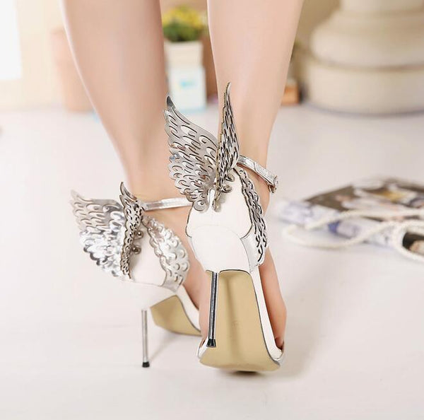 Butterfly Wings Decorate Open Toe Ankle Wrap Stiletto High Heels Sandals
