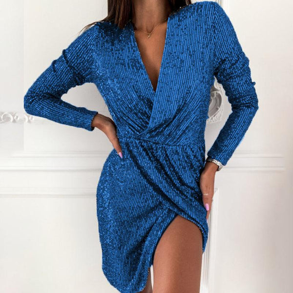 Sparkle Long Sleeve Slits Dress