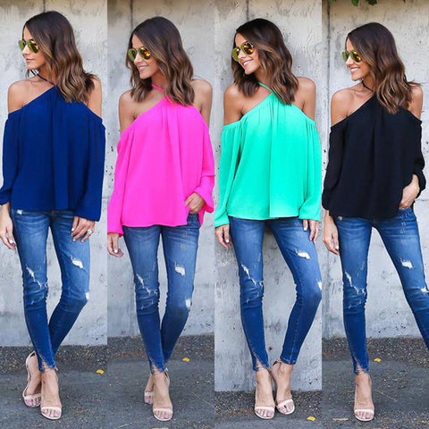 Halter Off-shoulder Long Sleeves Loose Street Chic Blouse - Shoes-Party - 2