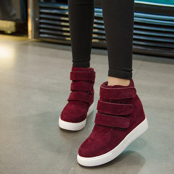 Simple Fashion Increased Velcro Ankle Boots
