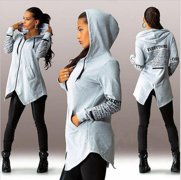 Letter Print Zipper Pockets Irregular Long Hoodie