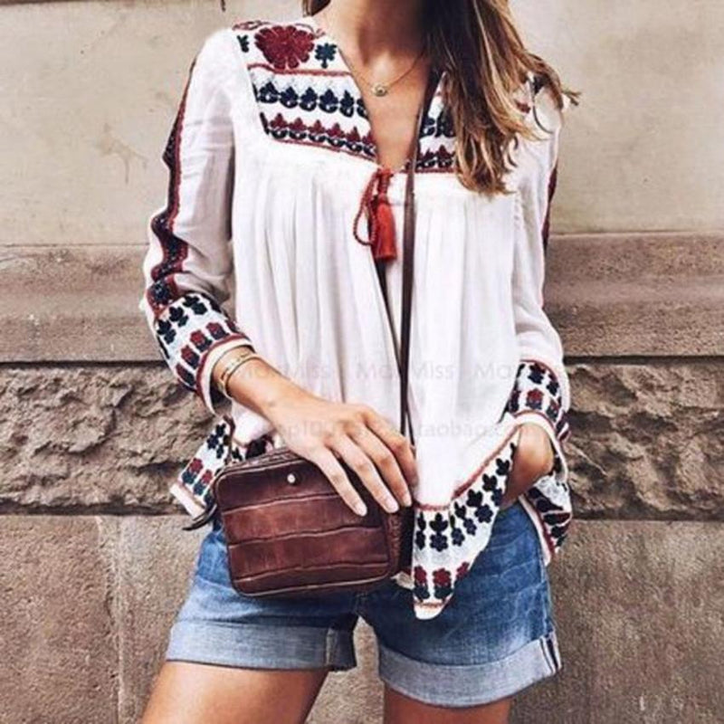 Bohemia Style Print Long Sleeve Lace Up Loose Blouse
