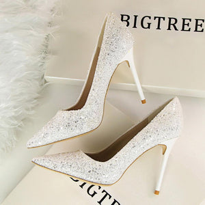 Shinning Crystal Pointed Toe High Stiletto Heels Prom Shoes