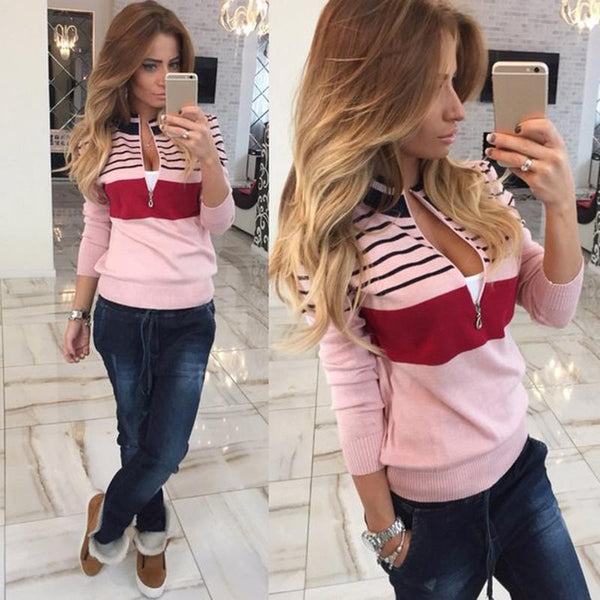 Stripe Zipper High Neck Slim Short Coat