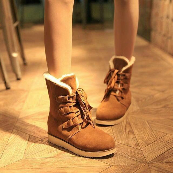 Platform Thick Warm Velvet Inside Lace UP Half Flat Snow Boots