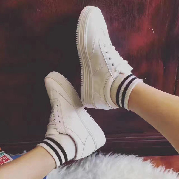 Fashion Increased Lace Up Fur Sneakers