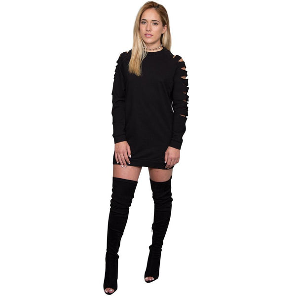 Pure Color Long Sleeves Hollow Out Long Sweatshirt