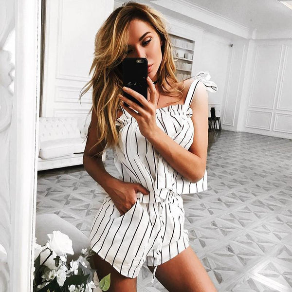 Stripe Crop Top with Shorts Two Pieces Set