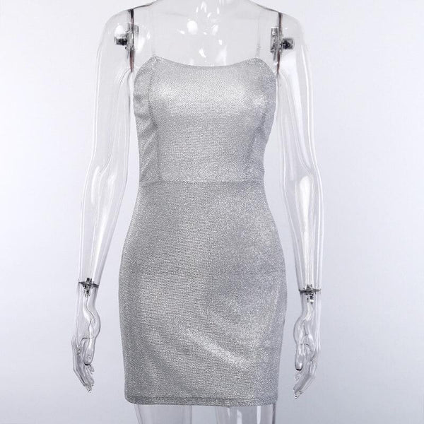 Silver Tube Bodycon Short Dress