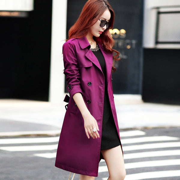 Double Breast Lapel Women Oversized Long Coat with Belt on