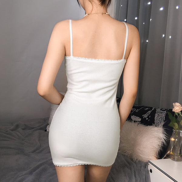 White Strap Lace Hem Bodycon Dress