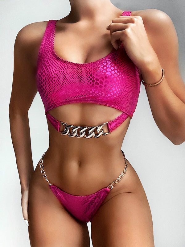 Hot Sequin Chain Mid Rise Thong Bottom Bikinis