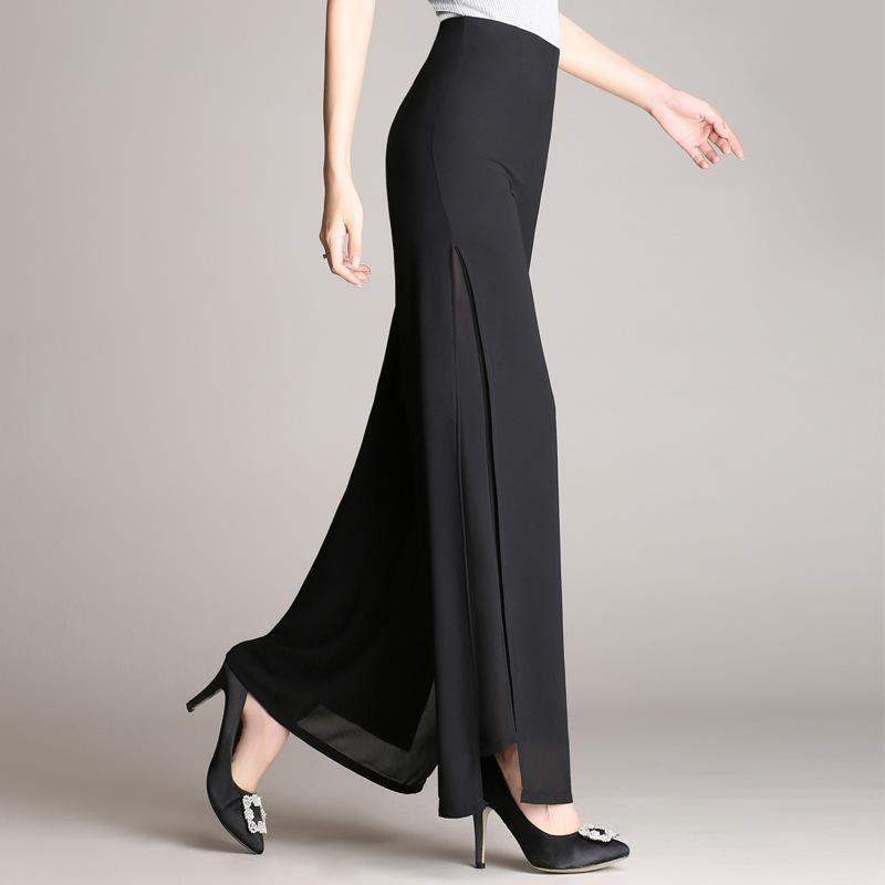 Pure Color High Waist Loose Long Chiffon Bell-bottomed Pants