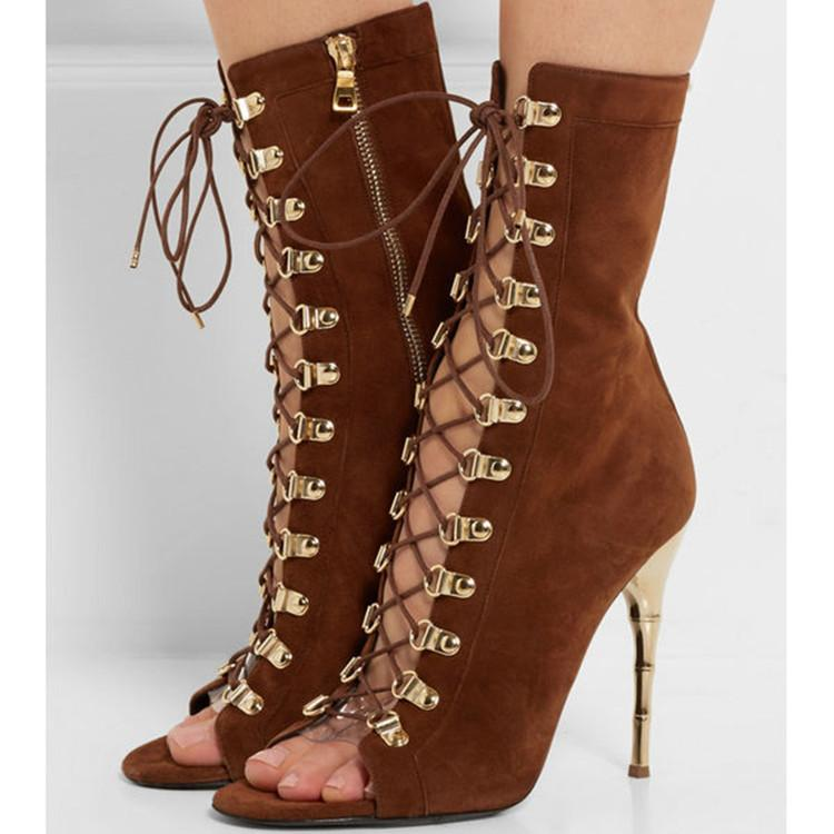 Lace Up Side Zipper Peep Toe Stiletto High Heels Short Boot Sandals