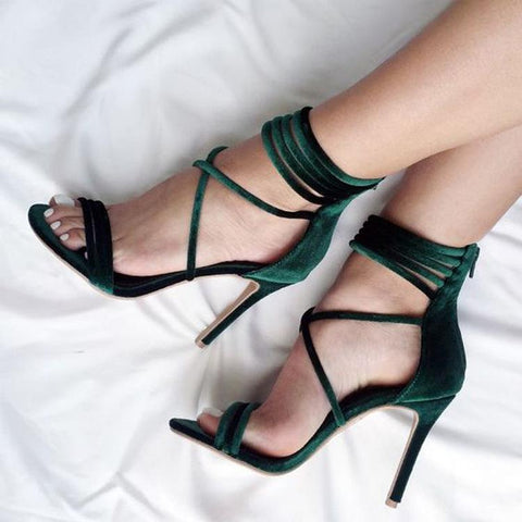 Suede Stiletto Heel Peep-toe Lace Wraps Zipper Sandals