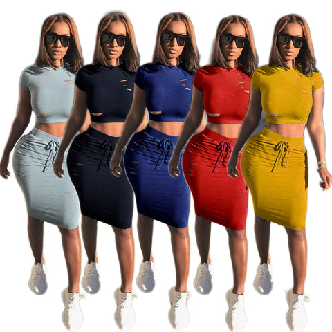 Cut Out Cropped T-shirt Knee-length Skirt Women Two Pieces Set