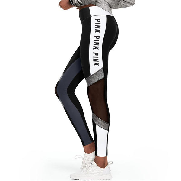 Letter Print Mesh Patchwork Women Skinny Yoga Sports Legging