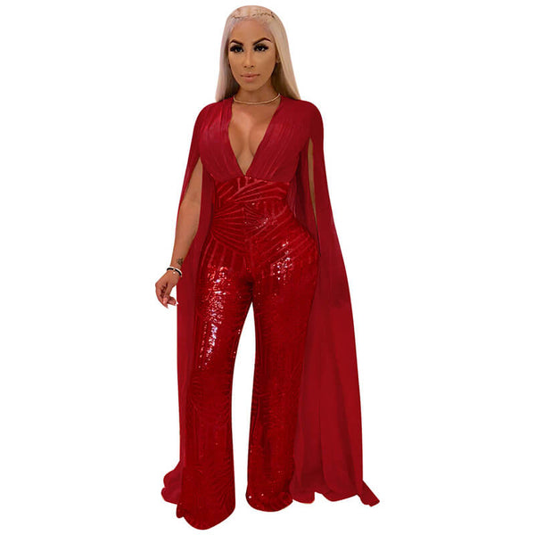 Sparkle Sequin Backless Cape Plus Size Formal Jumpsuit