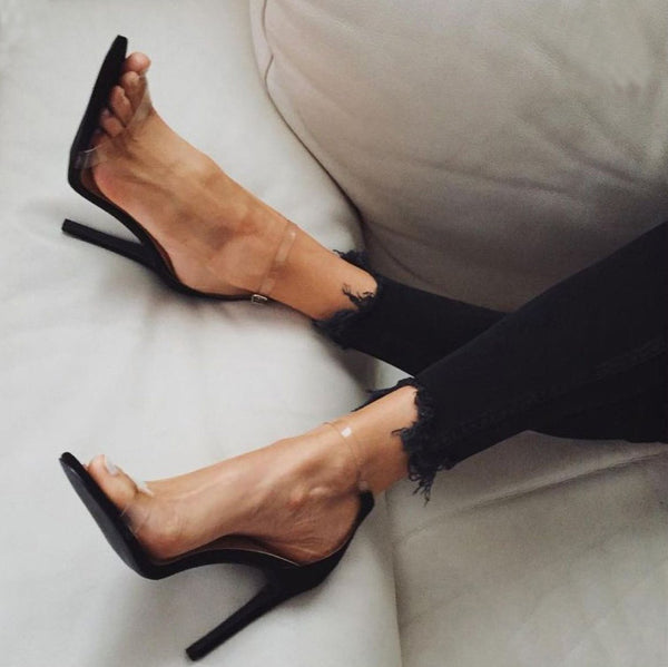 Transparent Straps Open Toe Stiletto High Heels Sandals