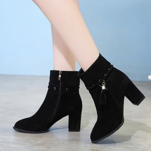 Tassels Crystal Pointed Toe Middle Chunky Heel Short Boots