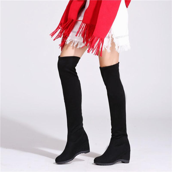 Pure Color Round Toe Inside Heels Wedge Over-knee Long Boots