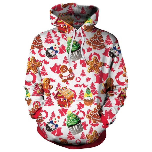 Drawstring Colorful Digital Print Women Christmas Party Hoodie