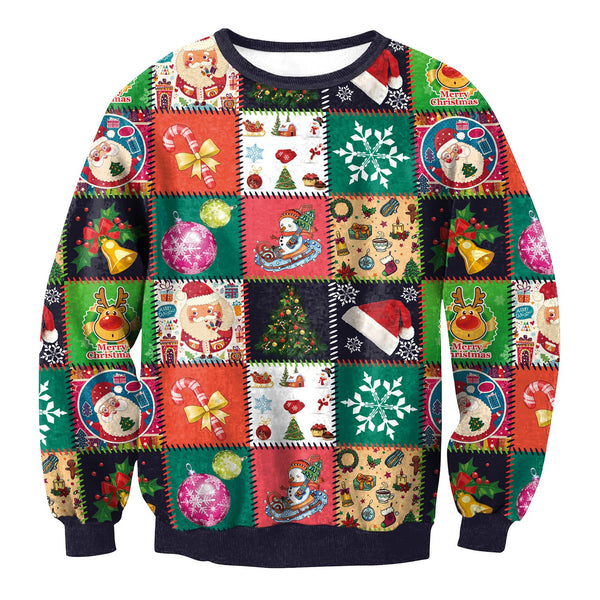 Colorful Snow Reinbeer Santa Claus Print Women Christmas Party Hoodie