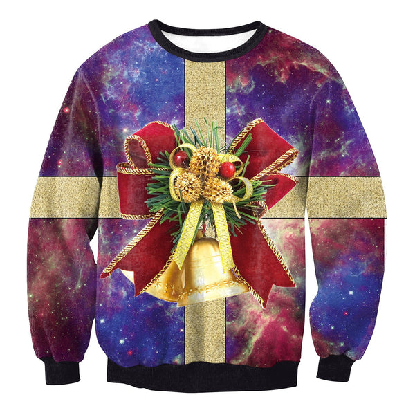 Party Bowknot 3D Galaxy Print Women Christmas Sweatshirt