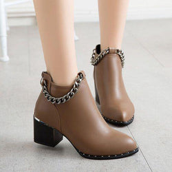 Chain Decoration Low Chunky Heel Round Toe Short Martin Boots
