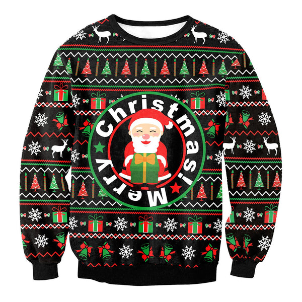 Merry Christmas Santa Claus Print Women Christmas Party Sweatshirt
