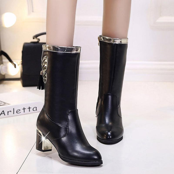 Middle Chunky Heel Butterfly Decoration Round Toe Half Martin Boots
