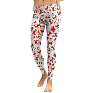 Santa Claus Elastic Women Christmas Party Skinny Legging