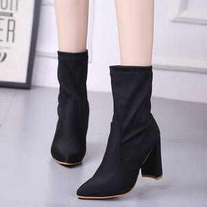 Pointed Toe Pure Color High Chunky Heel Half Martin Boots