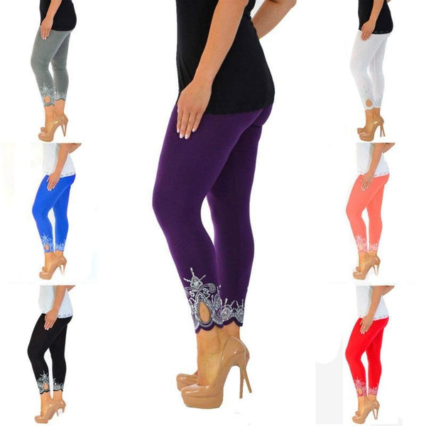 Print Cut Out 9/10 Women Skinny Legging