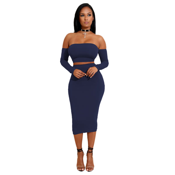 Off the Shoulder Back Lace Up with High Waist Over the Knee Skirt Women Two Pieces Set