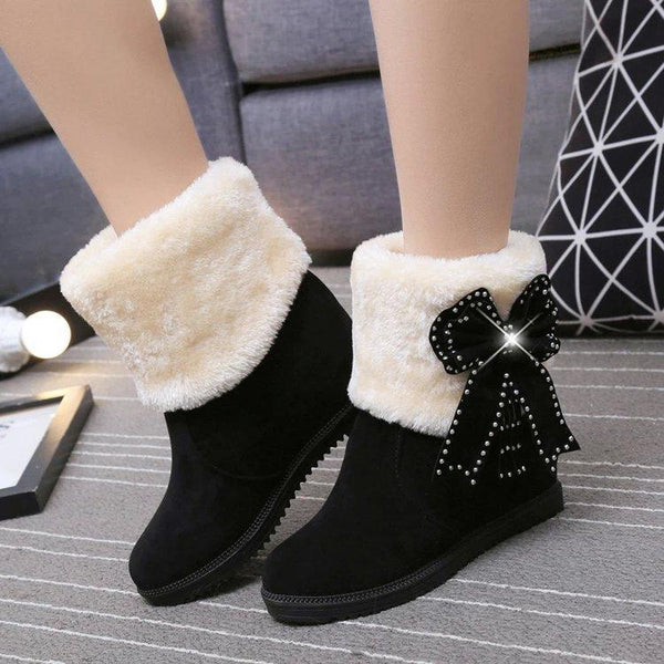 Warm Faux Fur Velvet Inside Wedge Bowknot Crystal Short Snow Boots