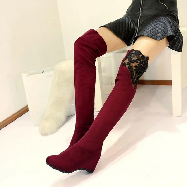 Lace Patchwork Inside Wedge Heel Over-knee Long Boots