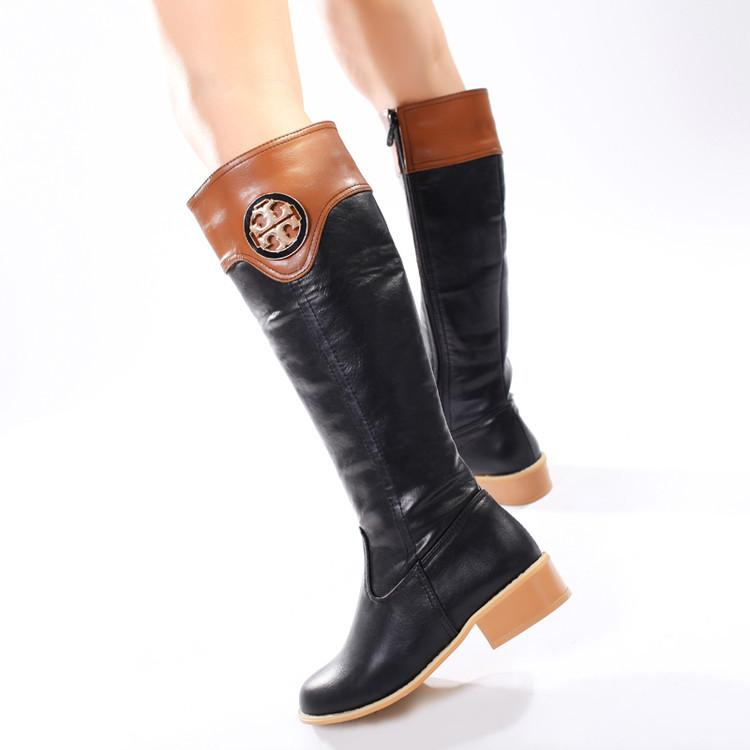 Patchwork Side Zipper Low Chunky Heel Long Boots