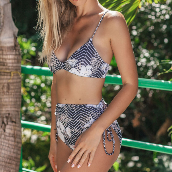 Hot Print Strapppy High Rise Triangle Bikinis