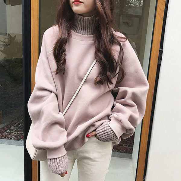 Korean Turtleneck Knit Splice Oversize Sweatshirt