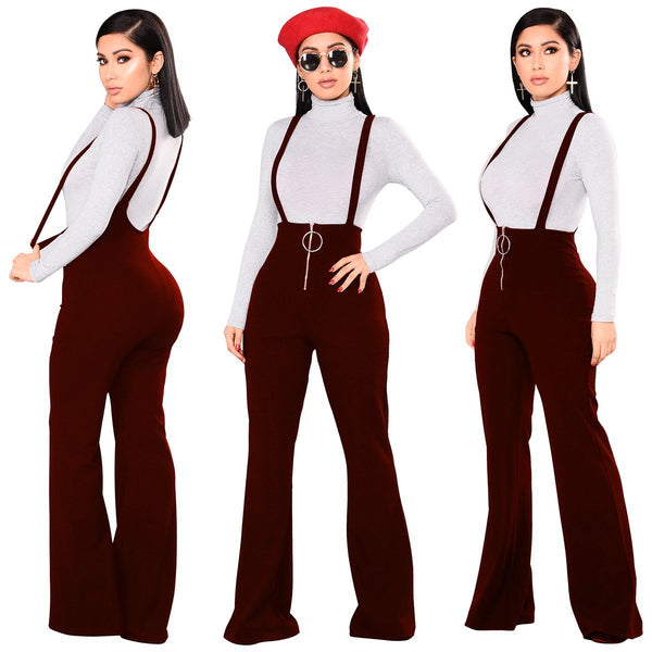 High Waist Pure Color Loose Wide-leg Long Rompers Pants