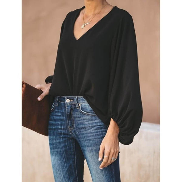 V-neck Loose Long Lantern Sleeves Blouse
