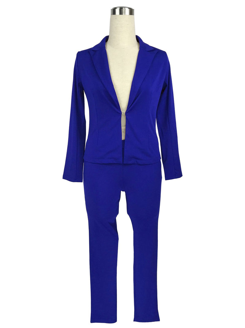 Pure Color Deep V-neck Blazer with Skinny Pants Two Pieces Set