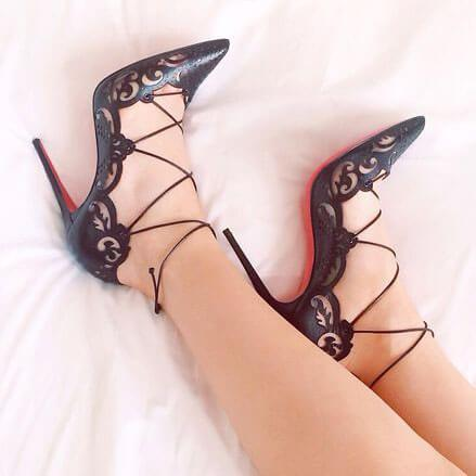 Point Toe  Stiletto Heel Lace Up Cutout Pumps