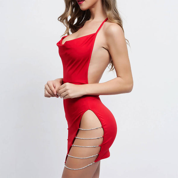Halter Backless Cut Out Dress