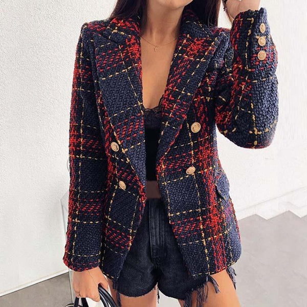 Plaid Double Breasted Tweed Jacket