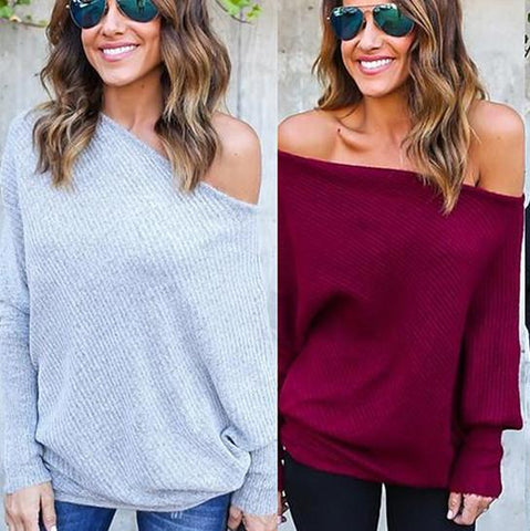 One Shoulder Long Batwing Sleeves Pure Color Loose Sweater