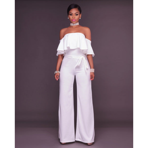 Loose Off Shoulder High Waist Long Wide-leg Jumpsuits
