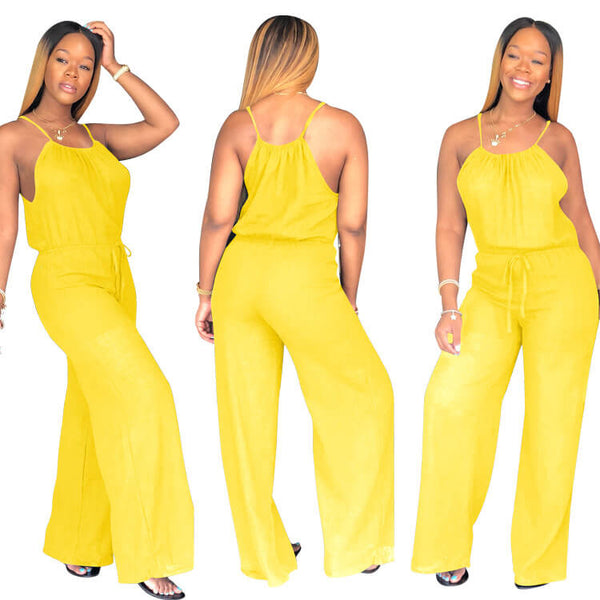 Candy Color Wide Leg Plus Size Formal Jumpsuit